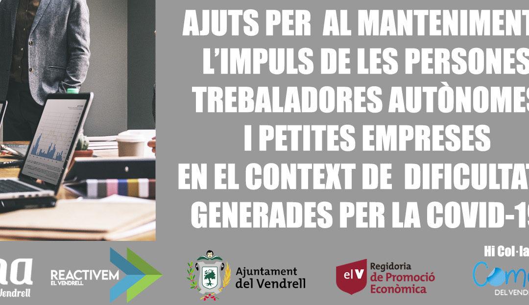AJUTS PER  AL MANTENIMENT I L'IMPULS DE LES PERSONES TREBALADORES AUTÒNOMES I PETITES EMPRESES EN EL CONTEXT DE  DIFICULTATS GENERADES PER LA COVID-19